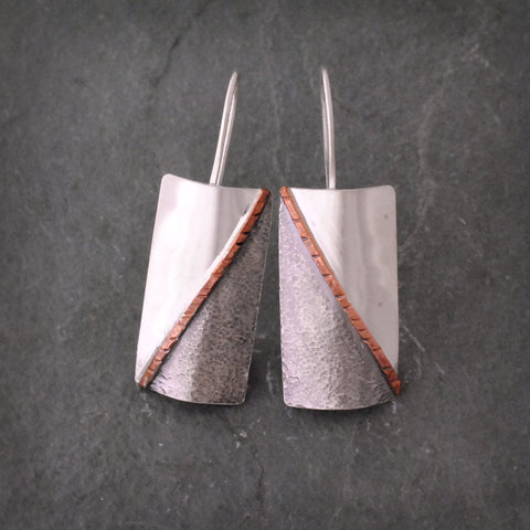 Sterling Silver and Copper Tri Colored Earrings
