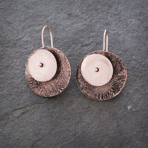 Sterling Silver Textured Circle Earrings