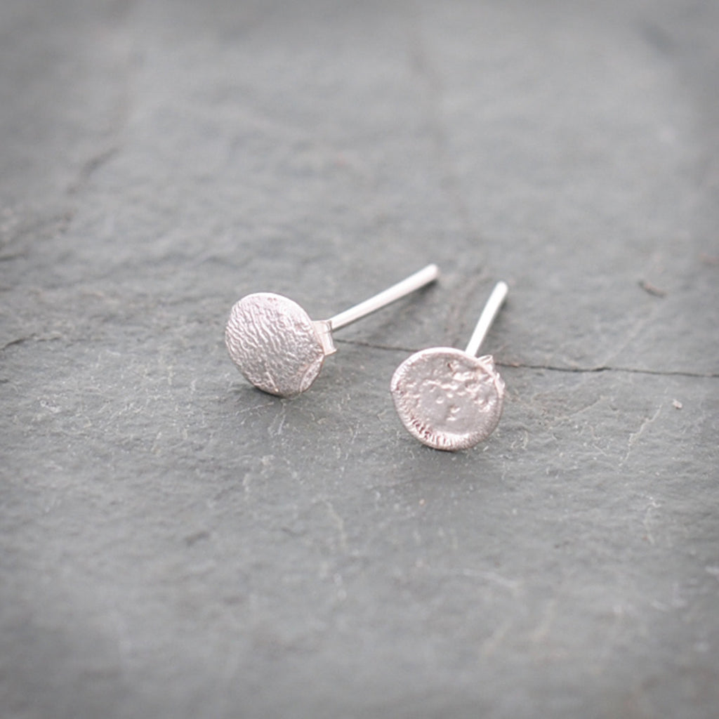 Round Textured Sterling Silver Post Stud Earrings