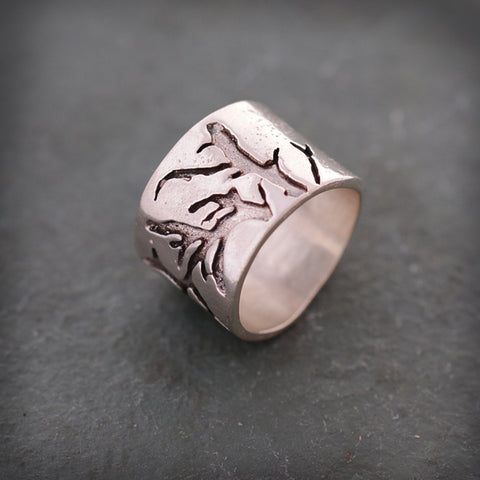 Textured Thick Sterling Silver Branch Band Ring