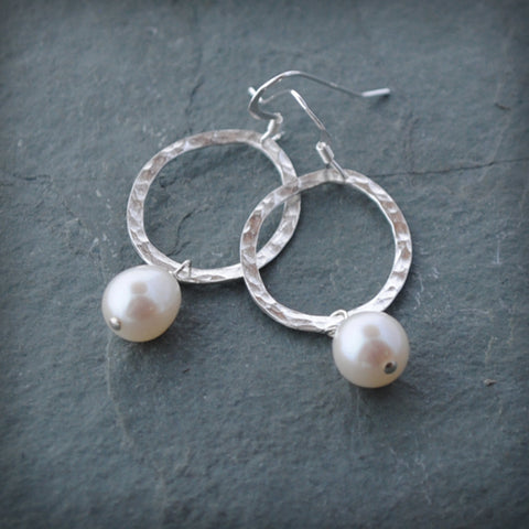 Oval Hammered Sterling Silver Dangle Earring With Fresh Water Pearl or Lava Bead