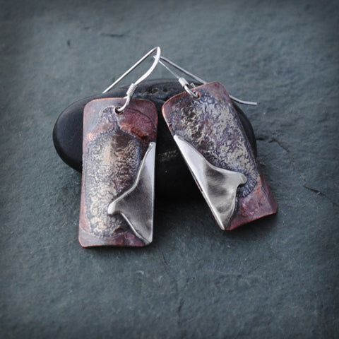 Textured Copper and Sterling Silver Rectangle River Mountain Earrings