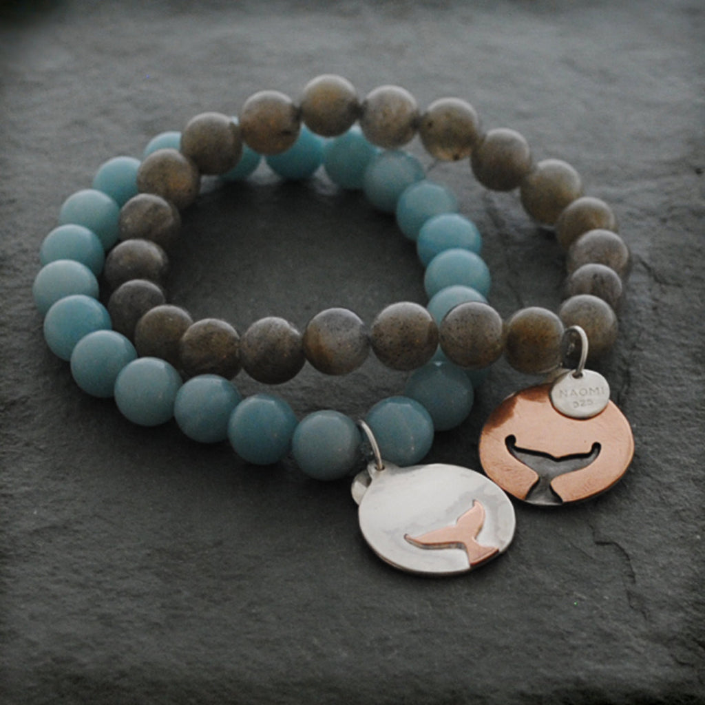Round Sterling Silver and Copper Whales Tale Stone Bracelet