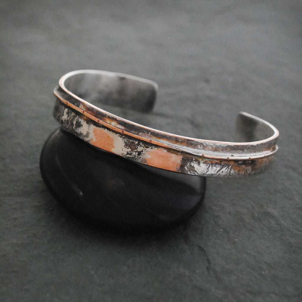 Textured Sterling Silver and Copper Thin Flow Cuff