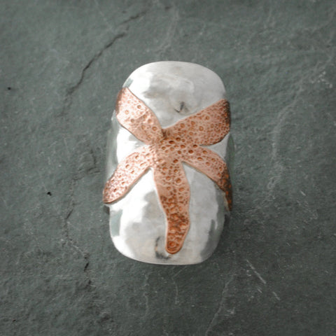 Sterling Silver and Copper Star Fish Shield Ring