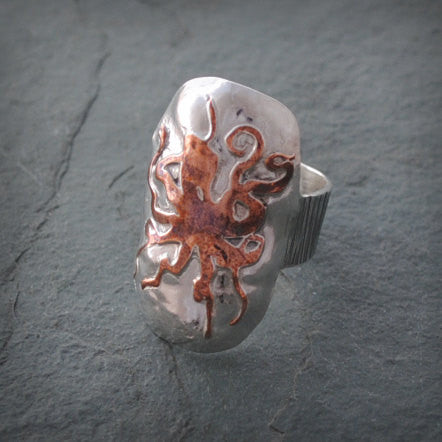 Sterling Silver and Copper Octopus Shield Ring