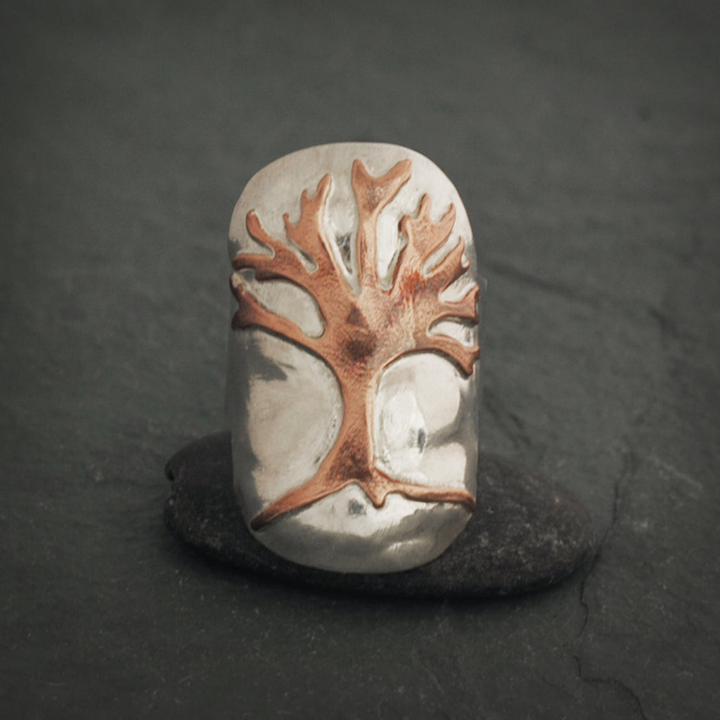 Sterling Silver and Copper Tree of Life Shield Ring