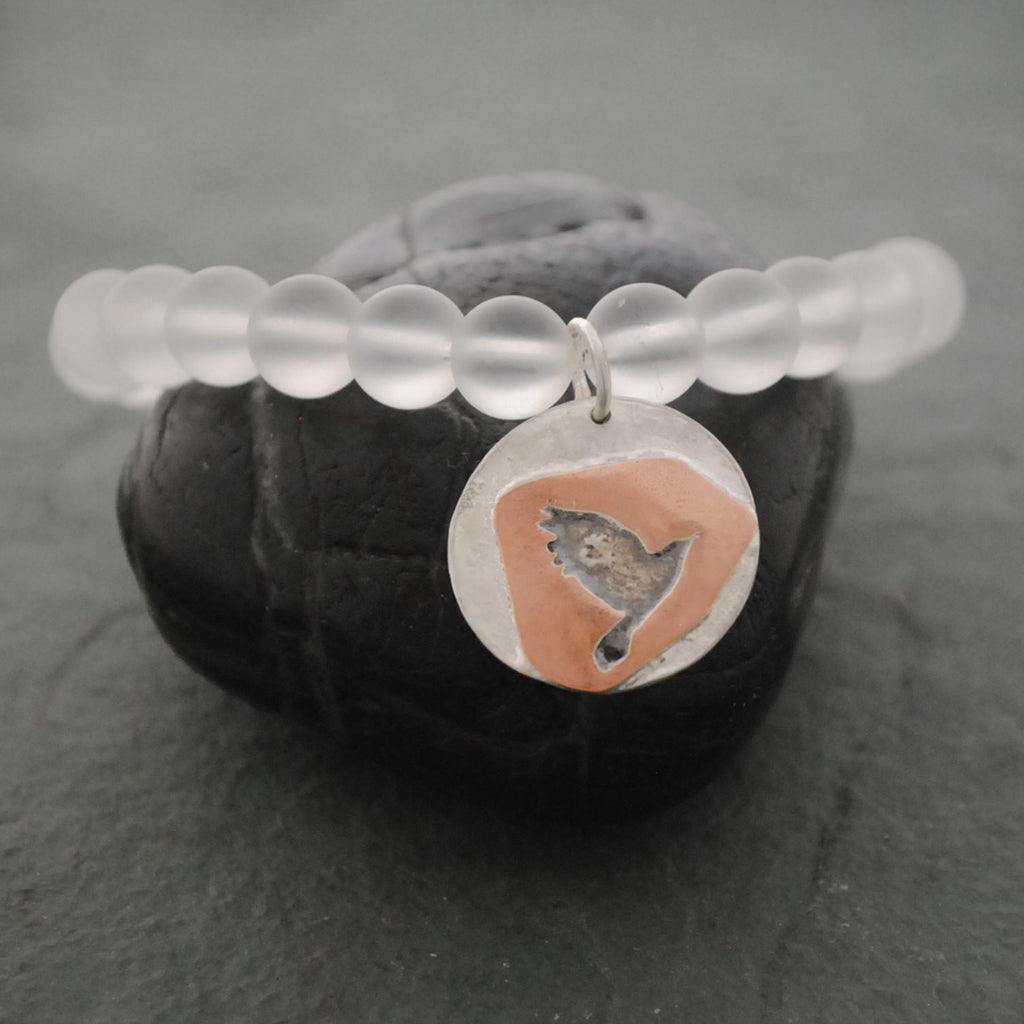 Sterling Silver and Copper Raven Bird with Frosted Quartz Beads