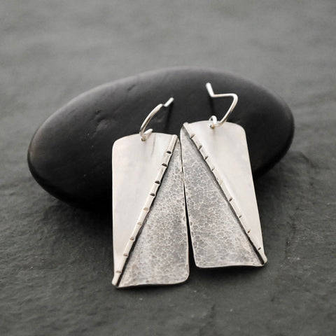Textured Sterling Silver Rectangle Tri Dangle Earrings