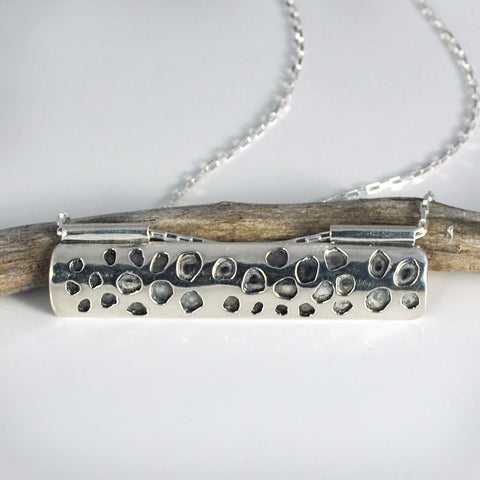 Sterling Silver Lotus Seed Pod Bar Necklace