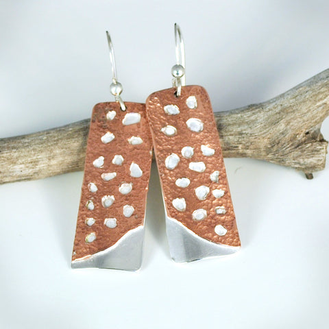 Sterling Silver and Copper Cactus Skeleton Earrings
