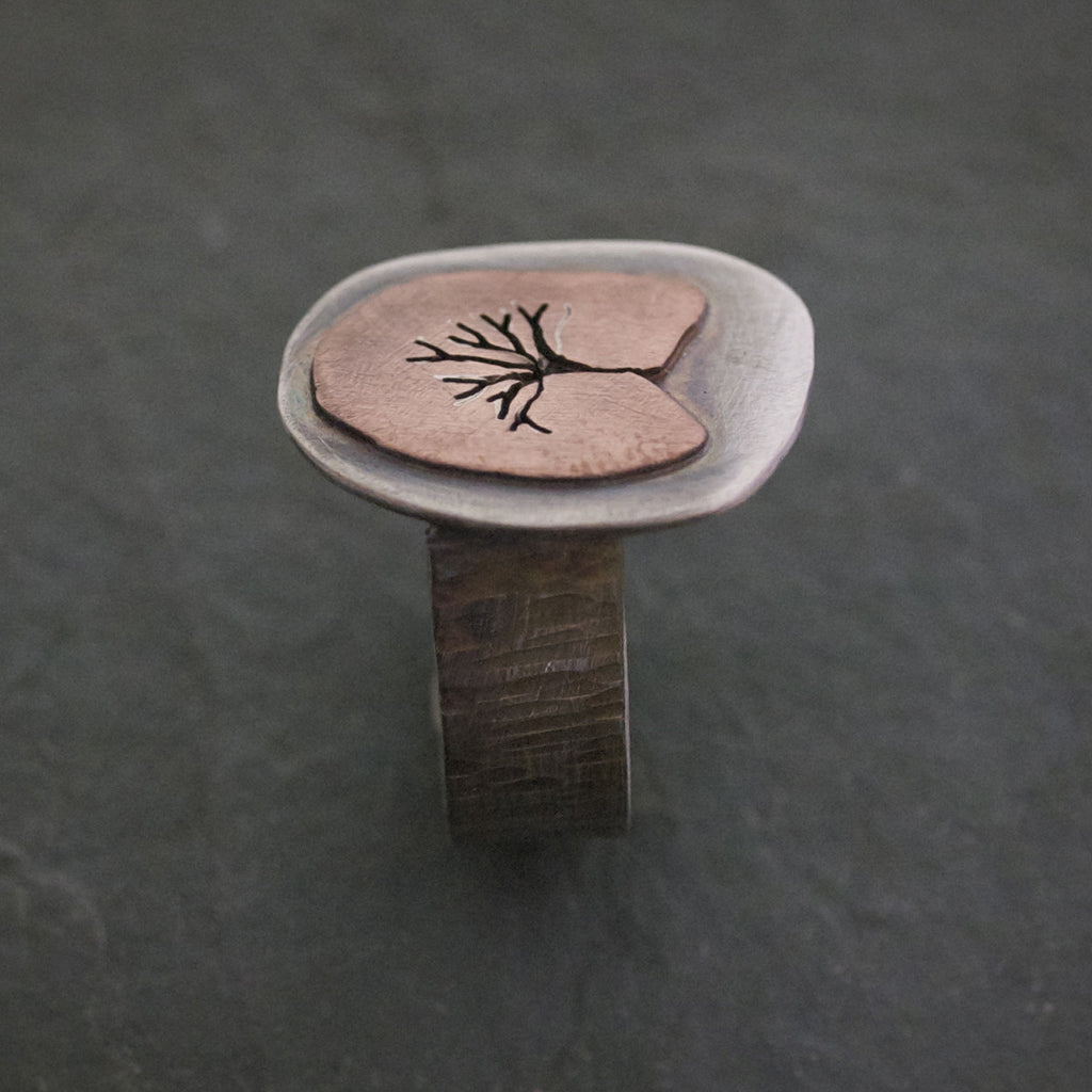 Sterling Silver and Copper Tree of Life Ring