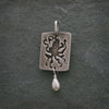 Rectangle Sterling Silver Octopus Charm With Fresh Water Pearl