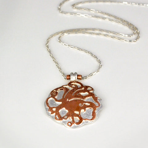 Whirlpool Mixed Metal Octopus Necklace