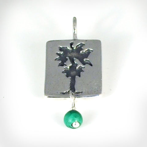 Sterling Silver California Palm Tree Charm or Charm Necklace With Malachite or Turquoise Bead