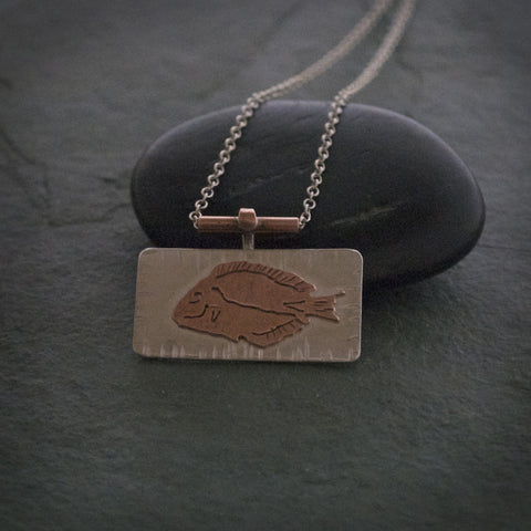 Sterling Silver And Copper Fish Necklace
