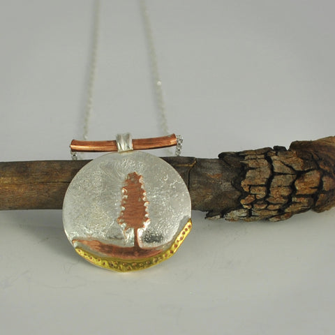 Sterling Silver And Copper Pine Tree Necklace