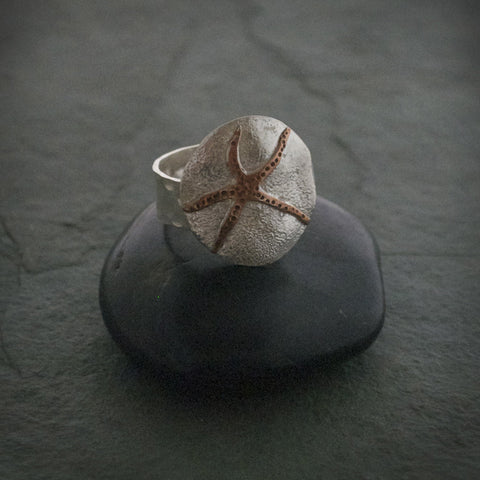 Round Sterling Silver And Copper Ring