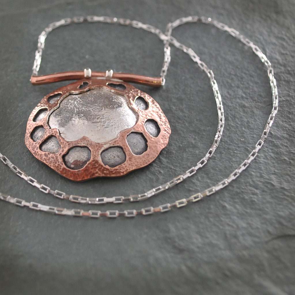 Floral Sterling Silver and Copper Necklace