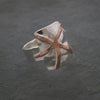Sterling Silver and Copper Small Star Fish Shield Ring