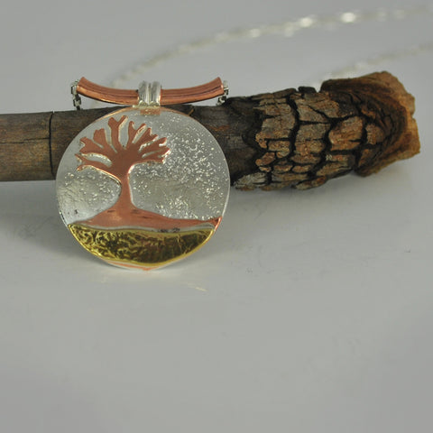 Mixed Metal Tree Of Life Necklace