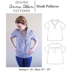Heidi Pullover Top - PDF Sewing Pattern Sizes 0-16