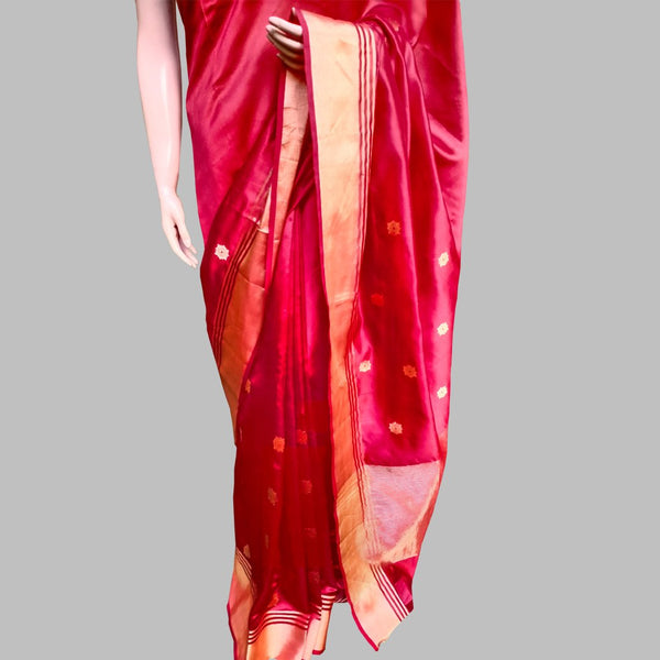Red Chanderi Silk Floral Gold Boota Saree