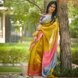 Lipstik Silk Mustard Blue shaded Mulberry Saree