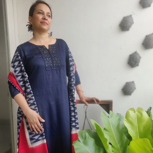 Blue Indigo Glazed Cotton Embroidered Yoke Kurta