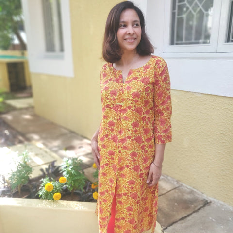 Yellow Kota Flowers Cotton Earth Tunic