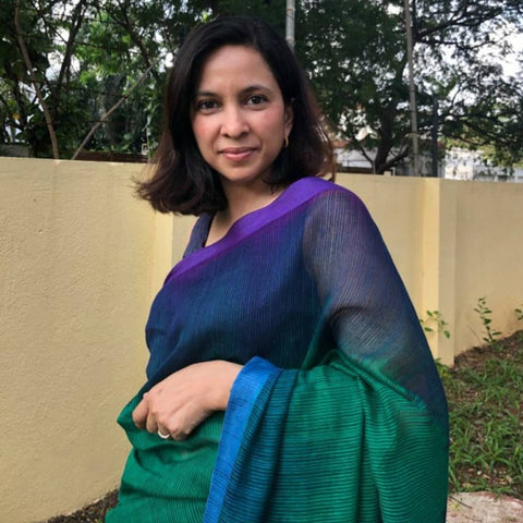 Peacock Shaded Green Purple Mulberry Silk Saree