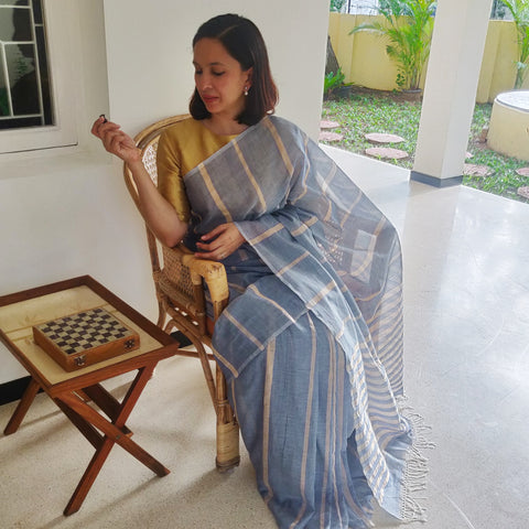 Grey Cotton Gold Stripes Cotton Saree