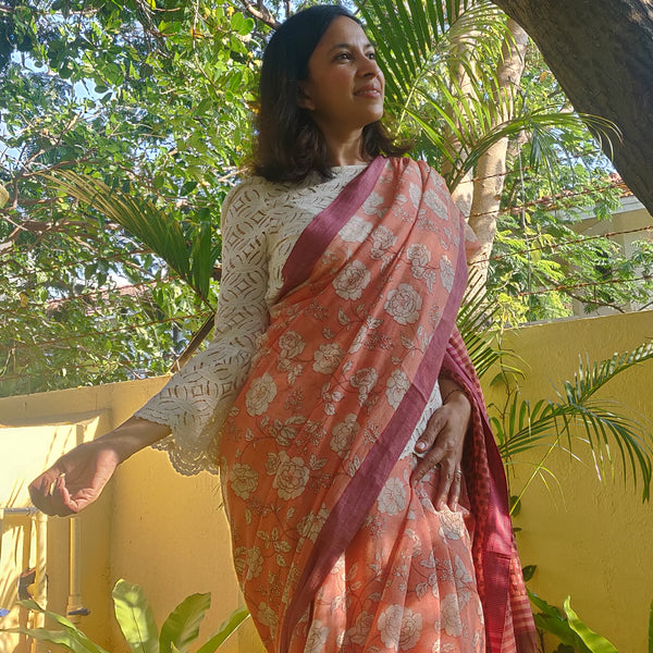Peach Floral Print Cotton Saree