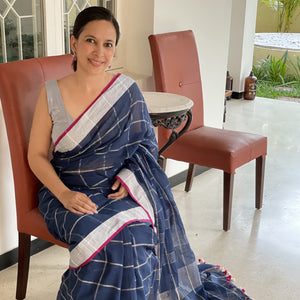 Navy Cotton Fulia Silver Checks Pompom Saree