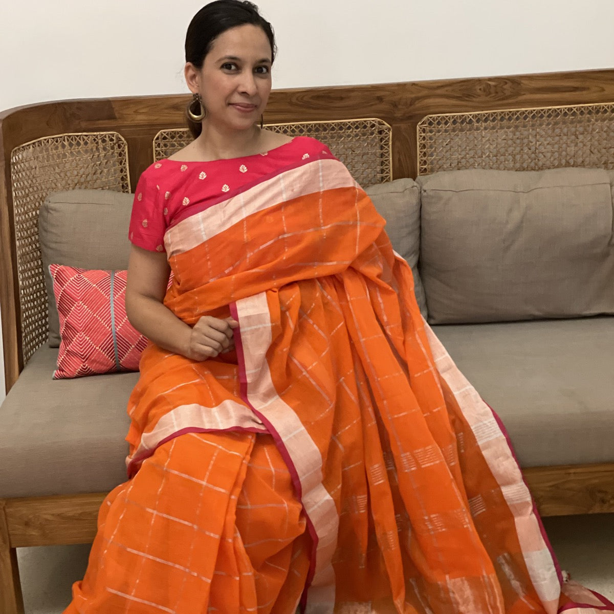 Orange Cotton Fulia Silver Checks Pompom Saree