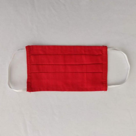 Plain Pleated Chanderi SilkCotton With Cotton Lining Double Layer Mask .