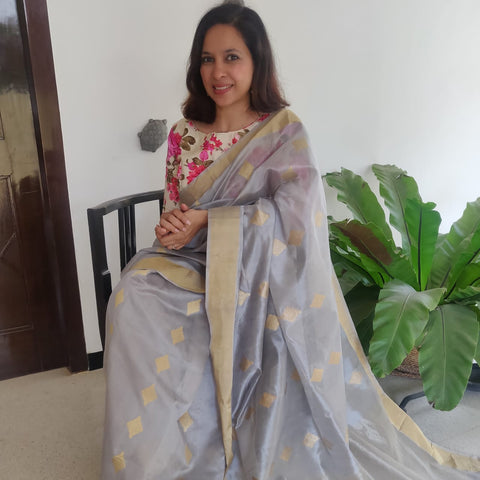 Grey Chanderi Silk Diamond Saree