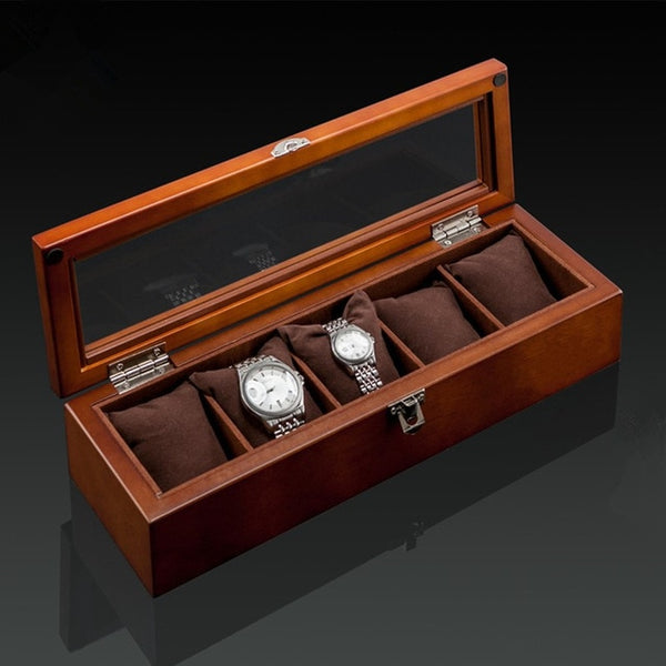 5 Slot Premium Wooden Watch Display Box with Display Top Window