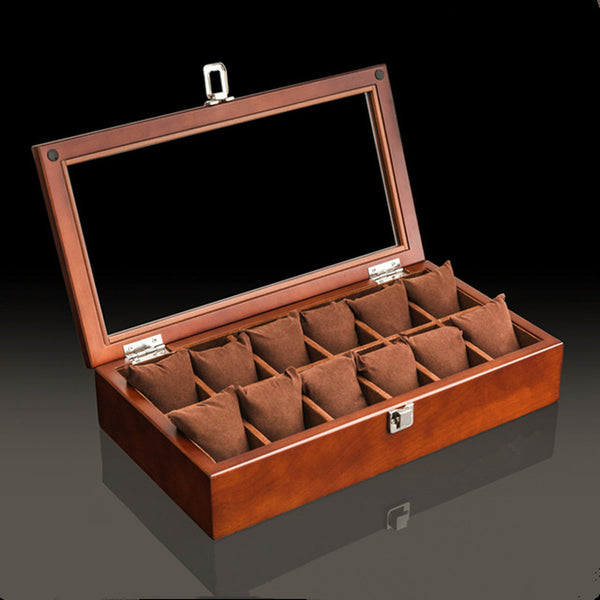 12 Slot Premium Wooden Watch Display Box with Display Top Window
