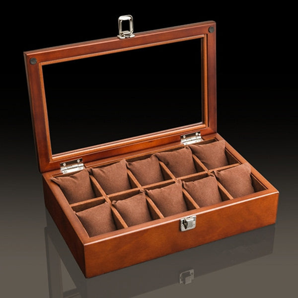 10 Slot Premium Wooden Watch Display Box with Display Top Window
