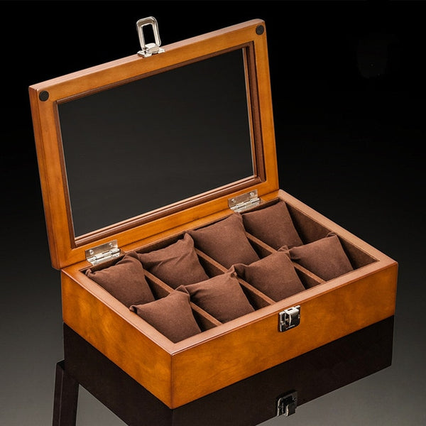 8 Slot Premium Wooden Watch Display Box with Display Top Window