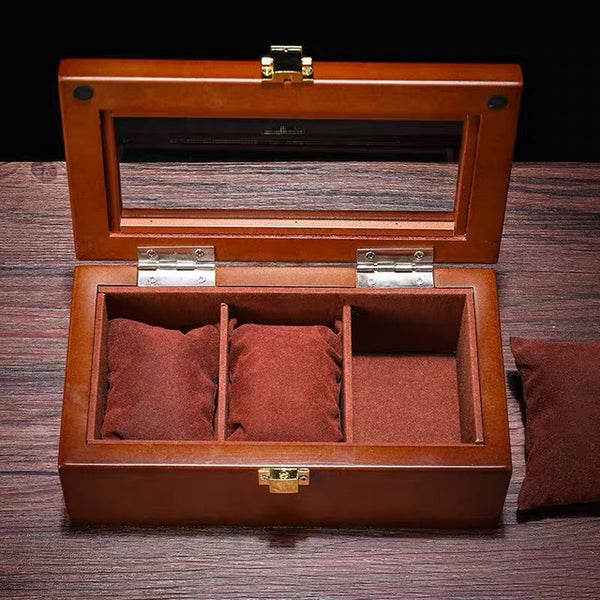 3 Slot Premium Wooden Watch Display Box with Display Top Window