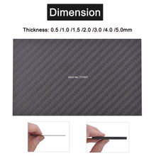 Load image into Gallery viewer, 0.5-5mm 125X75mm 3K Matte Carbon Fiber Sheets