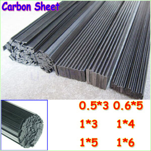 0.5M Length:  Width 3-6mm x Thickness: 0.5-1mm 16pcs Carbon Fiber Sheets (Strips)
