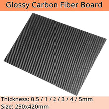 Load image into Gallery viewer, 0.5-2mm 420X250mm 3K Glossy Carbon Fiber Sheets