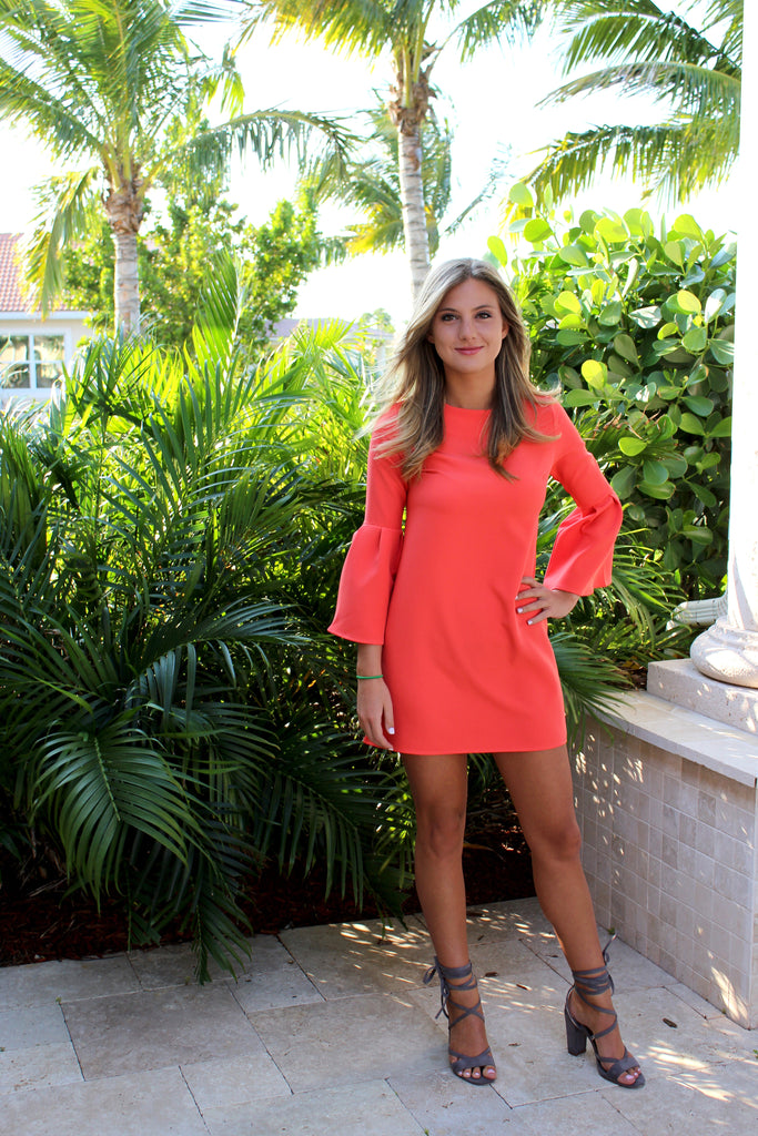Kendra Bell Sleeve Dress in Coral