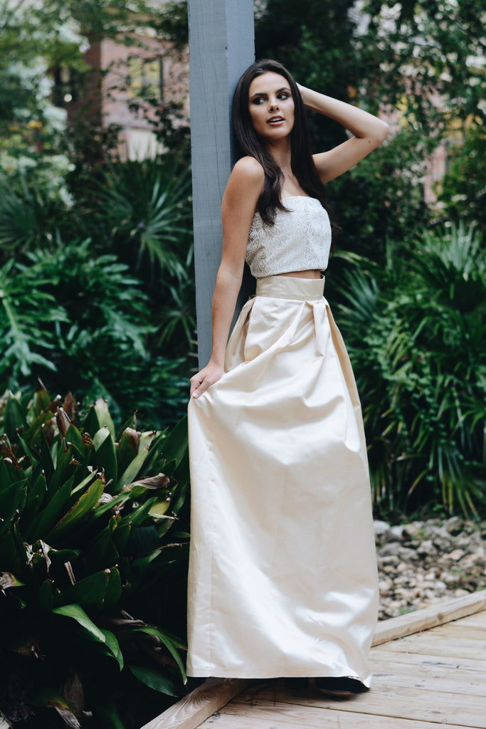 Ayla Champagne Ball Gown Skirt - Saule Boutique  - 1