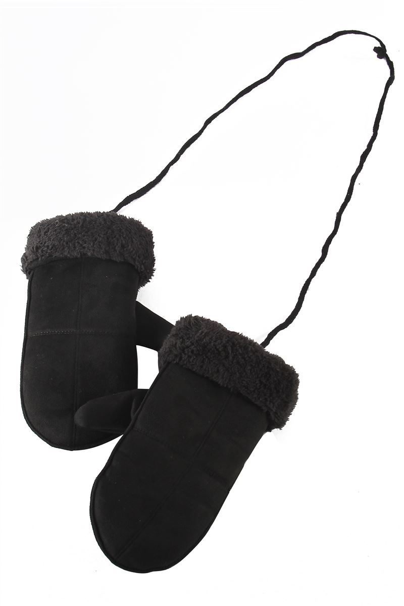 BLACK COSY MITTENS ON STRING
