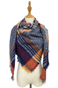 ORANGE AND NAVY TARTAN SQUARE SCARF