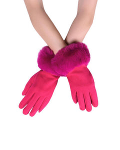PLAIN FAUX FUR TOUCHSCREEN GLOVES IN BOX, CHOOSE FROM, PINK,NAVY OR GREEN